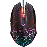 VGUARD Ratón Gaming con Cable, 4 dpi Adjustables hasta 2400, Gaming Mouse Óptico, Ratón Ergonómico Óptico RGB con 6 Botones y