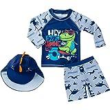 Happy Cherry Ropa Interior de Natación Niños Piscina Protección UV Traje de Baño Dividido Bebé + Sombrero de Sol de Dibujos A