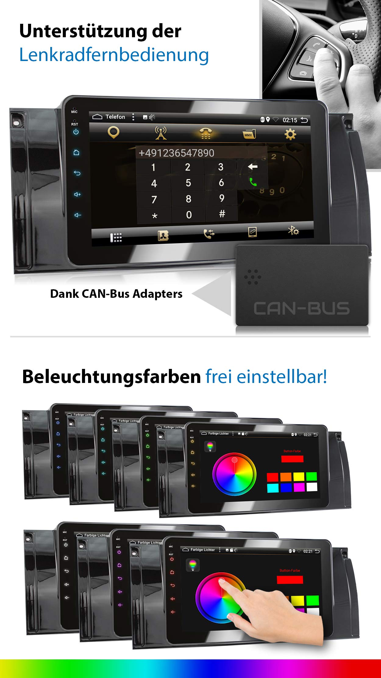 XOMAX-XM-39BA-Autoradio-mit-Android-81-passend-fr-BMW-E39-5er-M5-E53-X5-8Core-2GB-RAM-32GB-ROM-GPS-Navigation-I-Support-WiFi-3G-4G-DAB-OBD2-I-Bluetooth-8-Zoll-203-cm-Touchscreen-USB