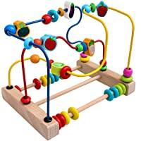 Toyshine Vegetable Wooden Shape, Obejects, Color Recognition Rolling Bead Maze Labyrinth Toy