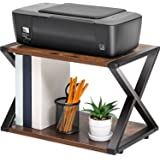 FITUEYES Desktop Printer Stand 2 Tiers Desk Organizer Storage Wood X-Shaped Book Shelf DO204501WG