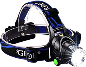 Udee Zoom Able 3 Modes Super Bright Led Headlamp With Rechargeable Batteries, Car Charger, Wall Charger