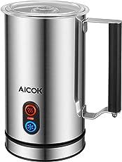 Aicok Milchaufschäumer, Milchaufschäumer elektrische, Milchschäumer mit Heißer oder Kalter Milch, Strix Temperaturregler, Antihaftbeschichtung, Milk Frother für Kaffee, Latte, Cappuccino, Silber