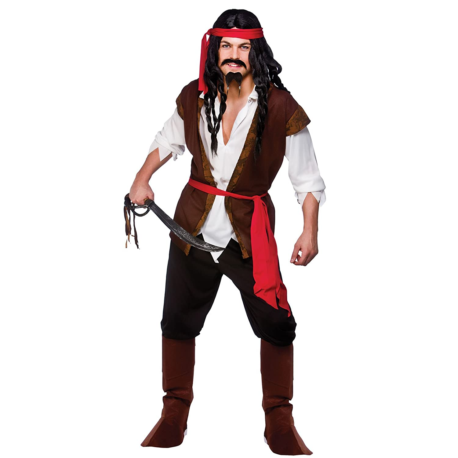 s mens caribbean pirate man costume for sea buccaneer fancy dress mans male amazoncouk toys games - Amazon Halloween Costumes Men