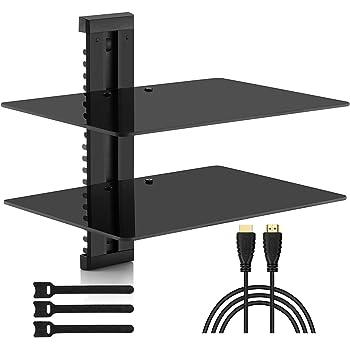Tectake tv wandregal wandhalterung f r dvd player receiver 2 ablageb den silber - Wandhalterung tv und receiver ...