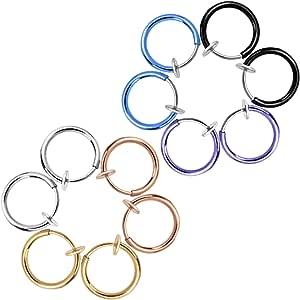 Non Traforato Orecchio Anelli Falsi Orecchini Anelli Naso Orecchio Labbro Clip Gioielli di Corpo, 6 Colori, 12 Pezzi
