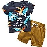 Fossen Ropa Niño Bebe 1-6 años Verano Conjuntos Dibujos Animados de cocodrilo Animal Camiseta Manga Corta y Pantalones Cortos