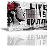 PIY Painting Canvas foto Bansky muurschildering Life is Beautiful schrijdende vrouw waterdichte afbeeldingen en kunstdrukken