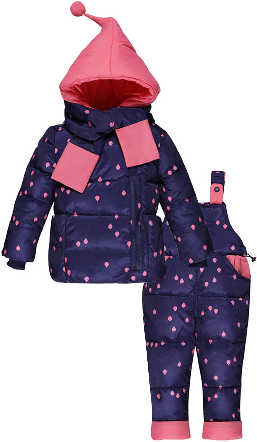 ZOEREA Chaquetas de Esquí para Bebé Niñas Traje de Nieve Abrigoscon Capucha + Pantalones + Bufanda Invierno Acolchado… 1
