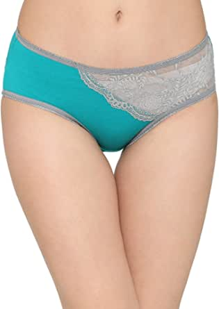 Clovia Cotton Mid Waist Hipster Panty with Lace Panel