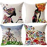 Gspirit 4 Stück Kissenbezug Retro Blume Dekorative Kissenhülle Baumwolle Leinen Werfen Sie Kissenbezüge 45x45 cm (5)