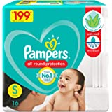 Pampers All round Protection Pants, Small size baby diapers (SM), 16 Count, Lotion with Aloe Vera