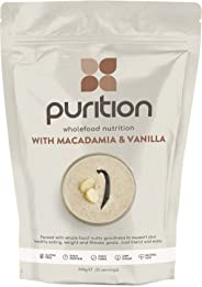 Purition Macadamia & Vanilla Natural Protein Powder for Keto Diet Shakes and Meal Replacements Shakes, 1 Bag (12 Serving)