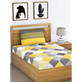 HUESLAND by Ahmedabad Cotton 144 TC Comfort Cotton Single Bedsheet with 1 Pillow Cover - Yellow and Grey
