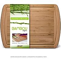 Mustdunet Planche à découper Extra-Large en Bambou 100% Bio - 45x30x1.8cm - N'abîme Pas Vos Couteaux de Chef - Utilisable Aussi comme Plateau à fromages - Design élégant pour épater Vos invités