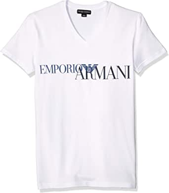 Emporio Armani Men's Megalogo V-Neck T-Shirt (Pack of 2)