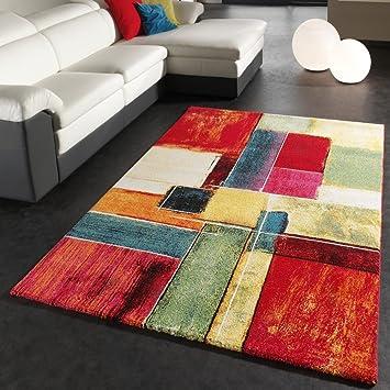 Teppich bunt modern  Teppich Modern Splash Designer Teppich Bunt Karo Model Neu OVP ...