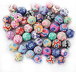 Fimo Polymer Clay Bead Colorful Round Bead 10mm (Mixed Color) - 50pcs