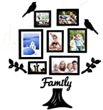 Art street - Family Tree Set of 7 Individual Wall Photo Frame with MDF Plaque - 2 Leaf,1 Trunk,1 Family and 2 Birds