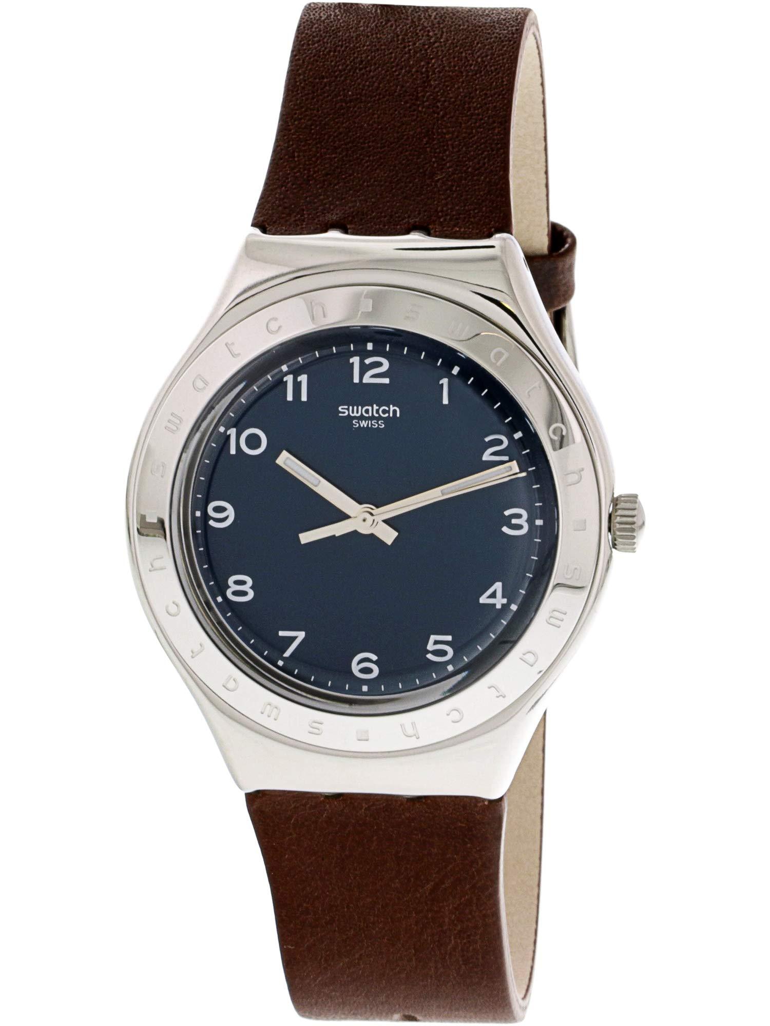 Swatch tannage ygs139plata piel Swiss Quartz reloj