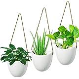 Hyselene 3 stuks hangende bloempot, wandvaas, keramiek, wit, decoratie, voor kamerplanten, vetplanten, luchtplanten, cactusse