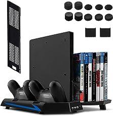 Keten supporto verticale per PS4 Slim/PS4 Con Ventilatore 2 in 1 base di ricarica Playstation 4 Games Gioco elagerung e 3 Port USB Hub di un gioco.