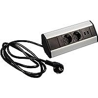 Gedotec Ecksteckdosenleiste Küche & Schreibtisch - Cornerbox   Ecksteckdose 2 x Strom-Schuco-Stecker & 2-fach USB…