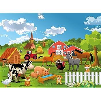 Papier Peint Photo Mural Ferme 71p 350x260cm 7les Colle Inclus