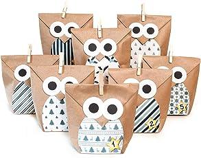 Pajoma DIY Adventskalender Bastelset Christmas Owl Blue, 1 x 24 Kraftpapiertüten zum Befüllen, inkl. Sticker, Weihnachten