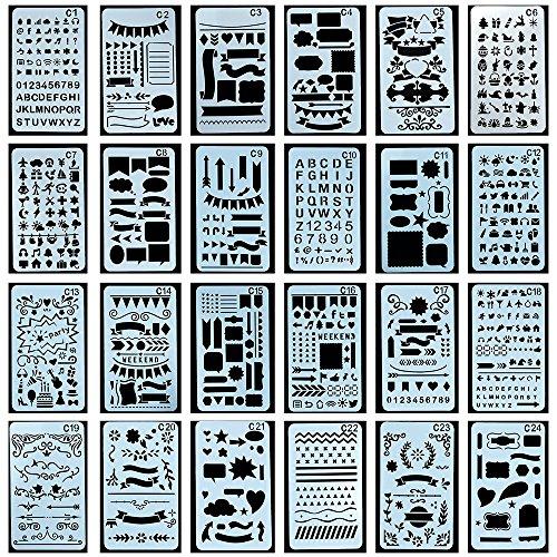 Zeichen Schablonen Grafiken Schablonen, 24 Stückfür Bullet Journal Scrapbooking verzieren/ verschönern eines Fotoalbum