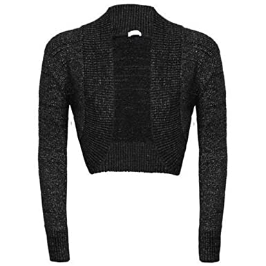 New ladies Long Sleeved Knitted Shrug Glitter Bolero Cardigan ...