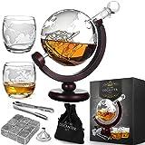 MikaMax - Globe Dekanter Set - karafka do whisky - z dwoma szklankami - ręcznie wykonana - przezroczysta - 850 ml - karafka z