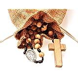 Chapelet catholique en bois d olivier fait main en France avec médaille miraculeuse Tempus Dei