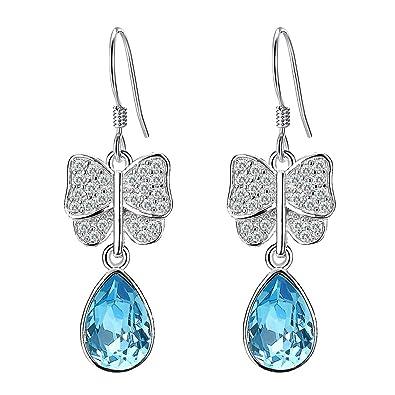 Clearine Women's 925 Sterling Silver Elegant Wedding CZ Teardrop Hook Dangle Earrings Adorned with Swarovski Crystals Nqv1L