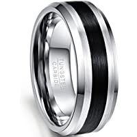 NUNCAD Anello Uomo Donna Argento Nero Unisex,Anelli di Tungsteno Semplice per Matrimonio Fidanzamento Gioielli 8mm…