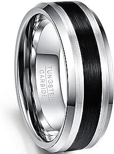 NUNCAD Anello Uomo Donna Argento Nero Unisex,Anelli di Tungsteno Semplice per Matrimonio Fidanzamento Gioielli 8mm Taglia (9-32)