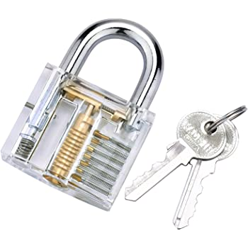 Transparent lock- BESTOPE® Training lock Professional Cutaway Inside view  of Practice Keyed Padlocks Training Skill Pick for Locksmith with 2 Keys
