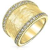 Bling Jewelry 14K in Ottone Placcato Oro Pave CZ Boho Moda Martellato Anello Fascia per Donne per La Teen Finitura Opaca 7Mm