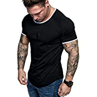 Men's Casual Short-Sleeved T-Shirt - Summer Sweatshirt Solid Color Round Neck Top Stretch Breathable Sportswear