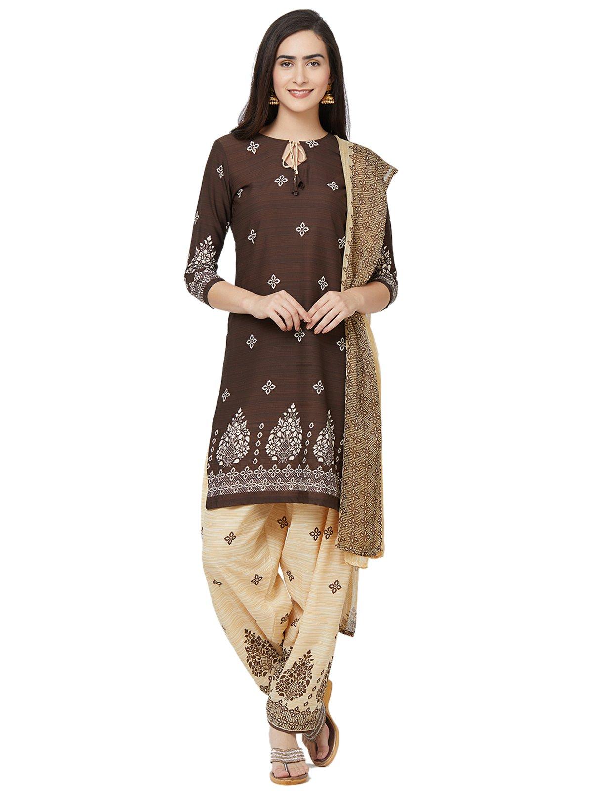 Kanchnar Women's Brown and Beige Crepe Dress Material