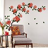 Decals Design StickersKart Wall Stickers Floral Branch Sofa Living Room Background Antique Flowers Vinyl Art (Multicolor…