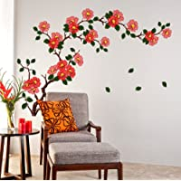 Decals Design StickersKart Wall Stickers Floral Branch Sofa Living Room Background Antique Flowers Vinyl Art (Multicolor…