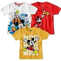 Mickey & Friends by Bon Organik Boy's Round Neck Cotton T-Shirt (Pack of 3)