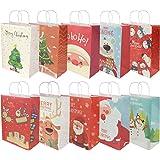 RIOGOO 10 pezzi Sacchetti regalo di Natale, sacchetti al dettaglio Borse in carta per feste Borsa Kraft con manico per feste