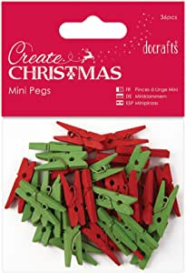 Papermania 36-Piece Mini Pegs, Red/Green