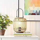 Lightbox Lampe de table style nature avec poignée de transport - Hauteur : 27 cm - Interrupteur - 1 ampoule E27 en métal/roti