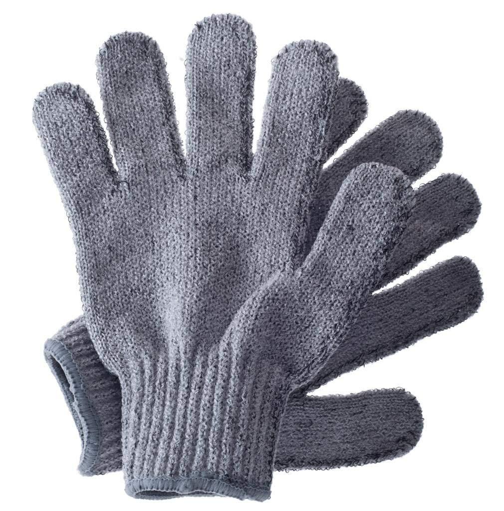 Exfoliating wash gloves, bamboo exfoliator mitt, bath/shower scrub, body exfoliation hand mitten, beauty scrubs/loofah, ingrown hair/dead skin remover, scratching eco microfibre, natural, grey
