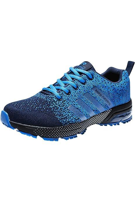 Mujeres Hombres Air Zapatillas de Deportivos Fitness Athletic Zapatos para Correr 3cm Respirable Sneakers Negro Azul Rojo Blanco Negro 36: Amazon.es: Zapatos y complementos