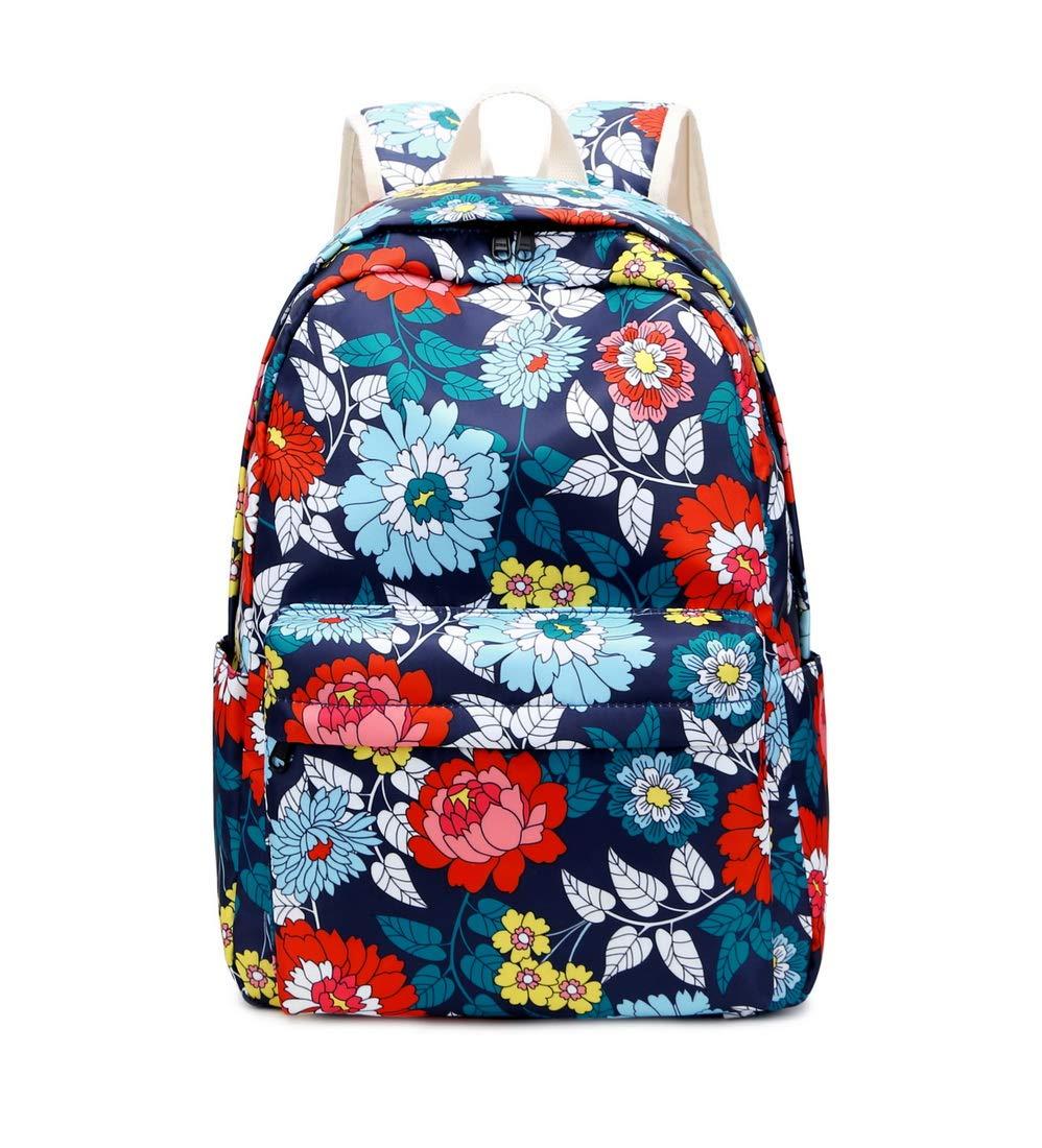 715aGVE14ZL - Joymoze Mochila Escolar para Niña Adolescente con Bolsa Térmica para el Almuerzo y Estuche Flor Azul