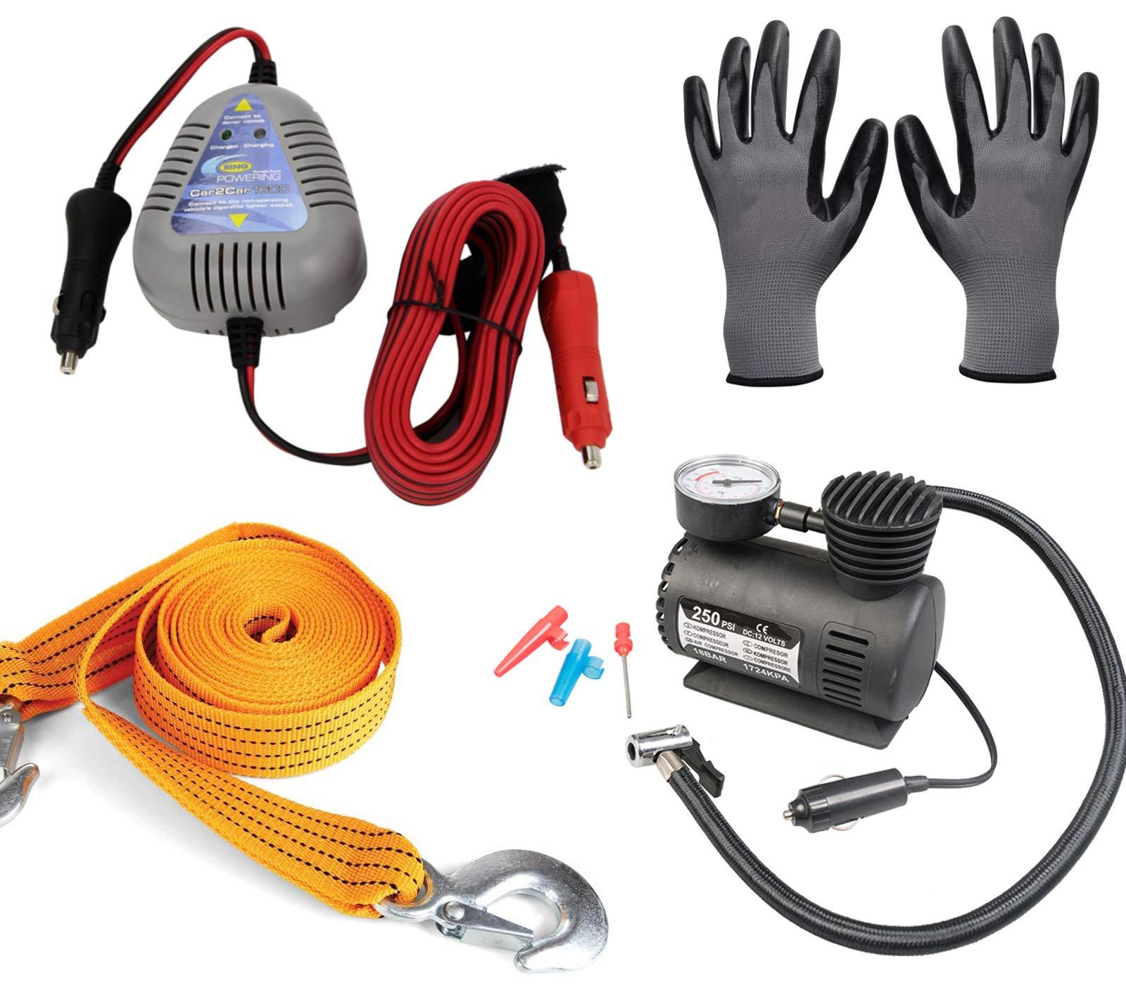 Break Down Kit – Aro de Arranque de Coche a Coche + Compresor de Aire + Correa de Cuerda de Remolque + Guantes de Trabajo